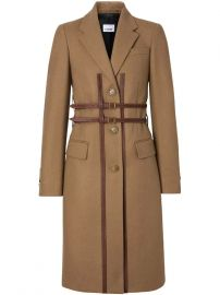 Burberry Leather Harness Detail Wool Tailored Coat Leather Harness Detail Wool Tailored Coat at Farfetch