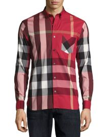 Burberry Thornaby Check Sport Shirt  Red long sleeve at Neiman Marcus