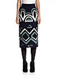 Burberry - Geometric Knit Pencil Skirt at Saks Off 5th