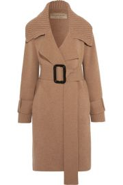 Burberry   Leather-trimmed belted wool-blend cardigan at Net A Porter