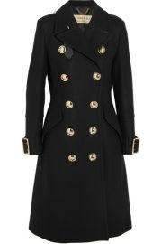 Burberry - Leather-trimmed double-breasted wool-blend coat at Net A Porter