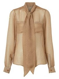 Burberry - Printed Chiffon Tieneck Silk Blouse at Saks Fifth Avenue