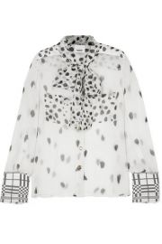 Burberry - Pussy-bow printed silk-chiffon blouse at Net A Porter