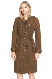 Burberry Brit  Dellsbridge  Long Single Breasted Suede Trench Coat at Nordstrom