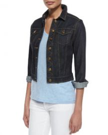 Burberry Brit Denim Cropped Trucker Jacket and Basic V-Neck Tee at Neiman Marcus