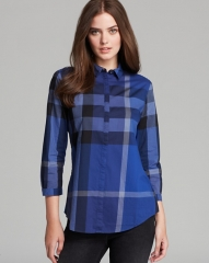 Burberry Brit Exploded Check Woven Shirt in blue at Bloomingdales