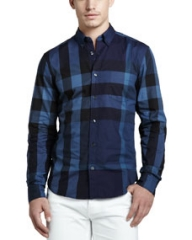 Burberry Brit Large-Check Sport Shirt Navy at Neiman Marcus
