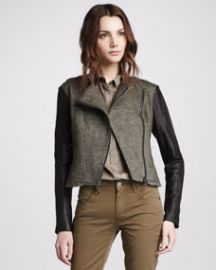 Burberry Brit Leather-Sleeve Textured Jacket at Neiman Marcus