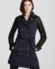 Burberry Brit Somerby Mixed Leather and Canvas Jacket at Bloomingdales
