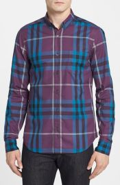 Burberry Brit Trim Fit Check Sport Shirt at Nordstrom