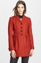 Burberry Brit and39Elmwynand39 Leather Trim Fit andamp Flare Wool Blend Coat at Nordstrom