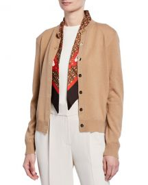 Burberry Cashmere Monogram-Print Silk Scarfed Cardigan  Brown at Neiman Marcus
