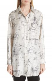 Burberry Chava Sketch Silk Shirt   Nordstrom at Nordstrom