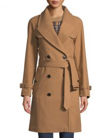 Burberry Cranston Wool-Blend Short Trench Coat at Neiman Marcus