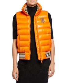 Burberry Icon Stripe-Detail Down Puffer Vest at Neiman Marcus