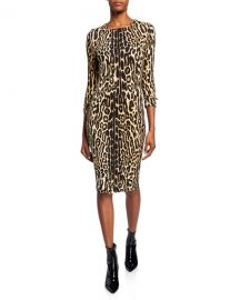Burberry Leopard Print Stretch Jersey Mini Dress at Neiman Marcus