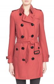 Burberry London  Kensington  Double Breasted Silk Trench Coat at Nordstrom