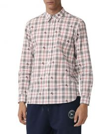 Burberry Men  x27 s Edward Signature Check Sport Shirt at Neiman Marcus