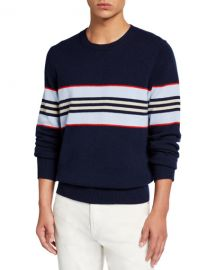 Burberry Men  x27 s Furlong Striped Cashmere Sweater at Neiman Marcus