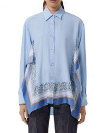 Burberry Monogram Print Trim Silk Boyfriend Shirt at Neiman Marcus