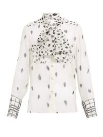 Burberry Pussy-bow dalmatian-print silk blouse at Matches