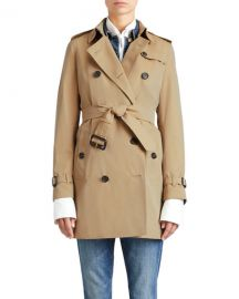 Burberry The Kensington Mid-Length Heritage Trench Coat  Honey at Neiman Marcus