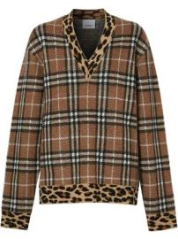 Burberry Vintage Check leopard-trimmed sweater Vintage Check leopard-trimmed sweater at Farfetch