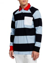 BurberryMen s Barford Striped Long-Sleeve Rugby Shirt at Neiman Marcus