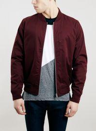 Burgundy Cotton Bomber Jacket at Topman