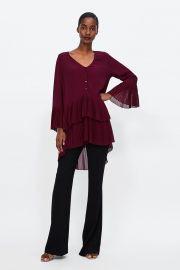 Burgundy Pleated Dress by Zara at Zara