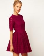 Burgundy lace dress at Asos
