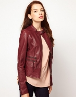 Burgundy leather jacket from ASOS at Asos