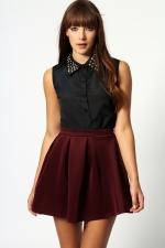 Burgundy skirt from Boohoo at Boohoo