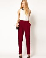 Burgundy trousers like Robins at Asos