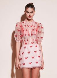 Butterfly Embroidered Pintuck Blouse at Fleur du Mal