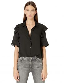 Button-Down, Short-Sleeved Top with Ruffles at Amazon