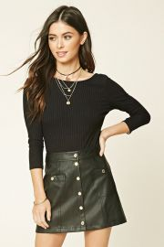 Button Faux Leather Mini Skirt at Forever 21