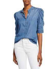 Button-Front Elbow-Sleeve Shirred Denim Shirt at Bergdorf Goodman