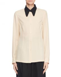 Button-Front Long-Sleeve Blouse w Contrast Collar by Dries Van Noten at Bergdorf Goodman