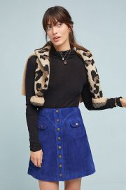 Button-Front Mini Skirt at Anthropologie