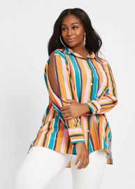 Button Front Shirt by Dubgee by Whoopi at Ashley Stewart