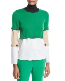 Button-Off Colorblocked Turtleneck Wool Sweater at Neiman Marcus