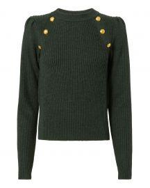 Button Puff Sleeve Sweater by Veronica Beard at Intermix