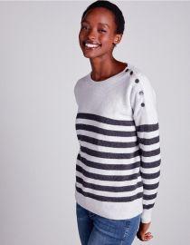 Button Shoulder Breton Stripe Sweater at The White Company
