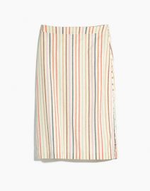 Button Slit Midi Skirt in Flecked Rainbow Stripe at Madewell