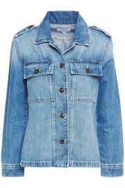 Button-detailed faded denim jacket at The Outnet