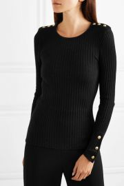 Button-embellished ribbed-knit sweater at Net A Porter