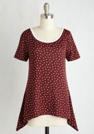 By and Lodge Top in Burgundy Dots at ModCloth