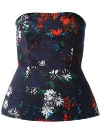C  233 dric Charlier Floral Print Strapless Bustier at Farfetch