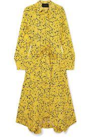 C  dric Charlier - Asymmetric floral-print silk crepe de chine midi dress at Net A Porter